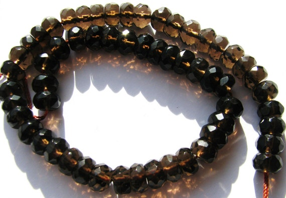 Smoky Quartz Large Faceted Rondelles, Sparkling Chocolate Brown, AAA Gemstone, 4 inch strand - 8mm x 5mm