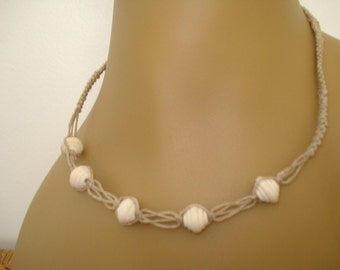 Natural hemp necklace with wooden beads