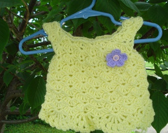 Lacy yellow crochet  baby dress / top size 0-3 months