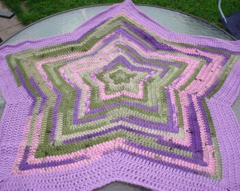 Unique multi-colored pinks, purples and greens star shaped baby blanket