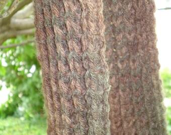 Unisex camouflage hand knit rib stitch scarf acrylic wool blend