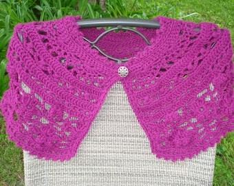 Fuschia crocheted lacy capelet