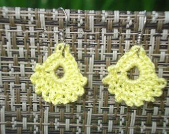 Lemon yellow crocheted lace earrings