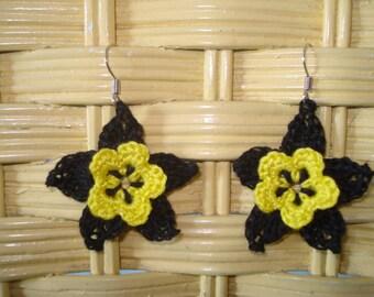 Yellow and black crocheted flower earrings