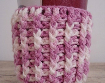 Lilac ombre crocheted cotton coffee cozy