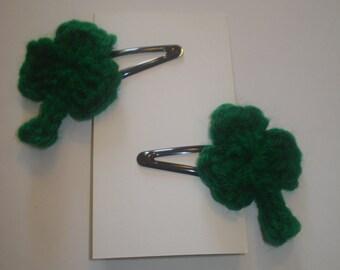 Set of 2 green crocheted shamrock hair barrettes snap clips