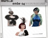 embe04 - scrapbooking embellishment - FLAPPER GIRLS - digital collage sheet cliparts