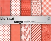 Polka dot, floral, retro, gingham, Tangerine Tango digital paper pack: 20 textures. Personal use only.