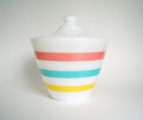 1950s Fire King Pastel Stripes / Colonial Grease Jar