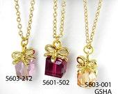 Necklace ,Swarovski crystal 5601- 502 Fuchsia , Sweet Gift Style ,by momolico