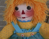 20 Inch Handmade Raggedy Ann Doll With Yellow Hair & Coordinating Dress, Apron, Bloomers