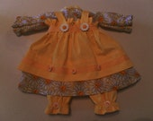 20 Inch Raggedy Ann Doll Clothes 3 Piece Outfit Dress, Apron, Bloomers in White Daisy Print