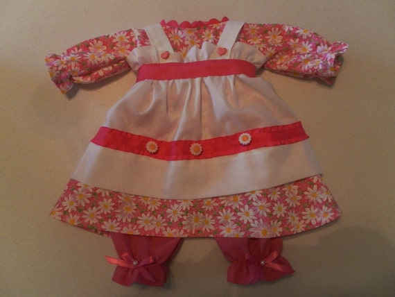 20 Inch Raggedy Ann Doll Clothes Outfit Dress Apron Bloomers in Pink Daisy Fabric