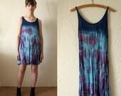 Tie Dye Drape Cut Dress With Plaited Straps