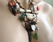 REDUCED By 10 Tribal Primitive Mixed Media Unisex Necklace