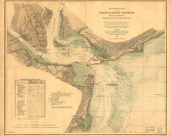 1865 Map of Charleston Harbor, South Carolina