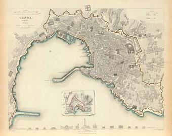 1836 Map of Genoa, Italy
