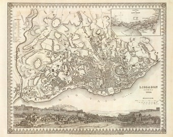 1844 Map of Lisbon, Portugal