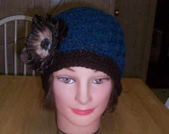 Blue and Brown Beanie with Removeable Flower Clip  5t to Adult