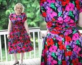 SALE - Vintage 1980s floral brights 100% silk cocktail dress (M/L)
