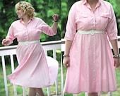 SALE - Vintage Pink Candy Striper shirtdress (M/L/XL)