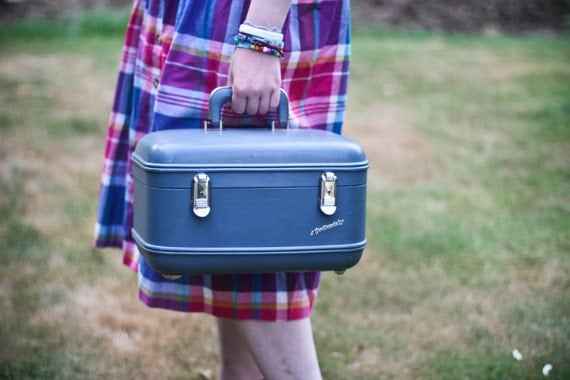 60s vintage grey/blue train case by Continental