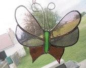 Stained Glass Butterfly Suncatcher  Pink Purple