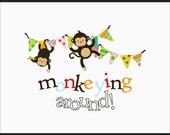 Nursery Art prints - Set of three Monkey Prints - Free shipping
