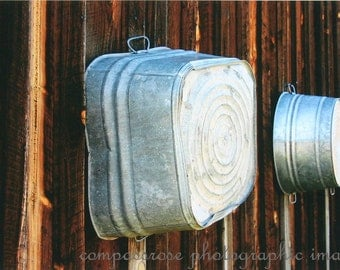 Hanging Out the Laundry Tubs  -  Vintage Laundry Tubs on Barn Wall Fine Art Photograpy Print