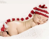 Red and White Striped Elf Hat - Newborn
