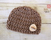 READY TO SHIP - Wooly Thick and Chunky Beanie in Bark Brown with Olive Wood Button - Newborn