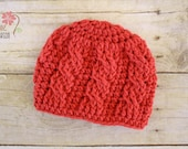 READY TO SHIP - Sweet and Simple Cables in Coral - Newborn Beanie