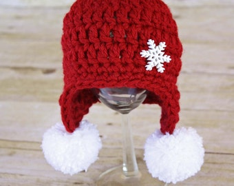 Red Snowflake Earflap Beanie with Pom Poms - Newborn Photo Prop, Red and White with Snowflake