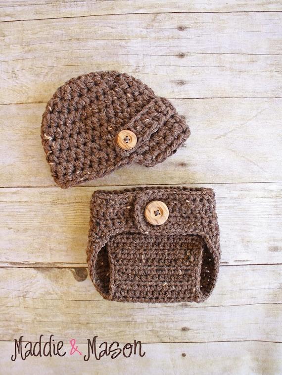 Barley Newsboy Hat and Diaper Cover Set - Newborn