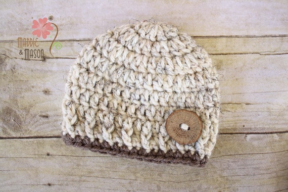 Thick and Chunky Button Beanie in Oatmeal - Newborn