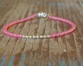 Tiny Pearly Pink & silver Single Friendship Bracelet