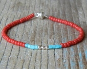 Tiny Turquoise, Red & Silver Single Friendship Bracelet