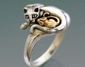 Cat and Mouse Ring Bi-metal with 14k Mouse