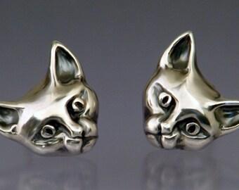 Cat Face Post Earrings