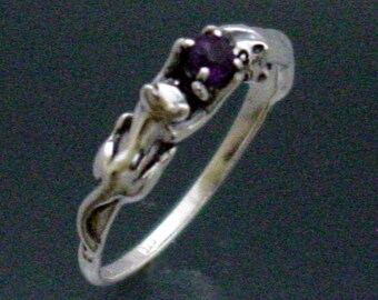 Two Cats Ring with Faceted Amethyst or Stone of Your Choice ~ Size 3 to 8 1/2