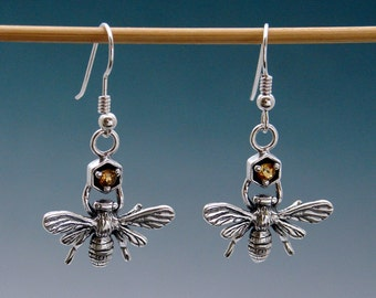 Bee Earrings with Citrine or Stone of Your Choice