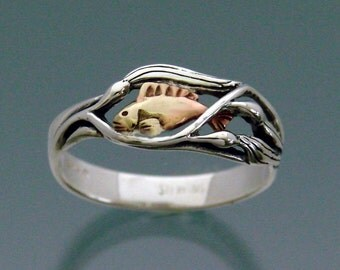 Fish Ring  - Fish in Kelp ring - Sterling silver & 14k Gold Fish