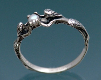 Two Mermaids Ring with Pearl in Sterling Silver Size 3 to 9