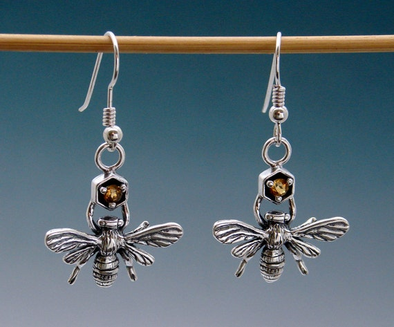Bee Earrings with Citrine or Other Stone
