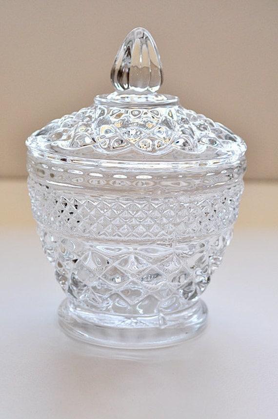 Vintage Pressed Glass Sugar Bowl With Lid
