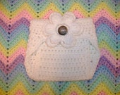 White Crochet Diaper Cover in Any Color with Detachable Flower - Photo Prop - Available in Newborn, 3 to 6, 6 to 12 and 12 to 24