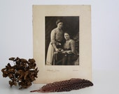 A N T I Q U E Cabinet Card Photograph Of Two Women In Sepia Black And White Photo