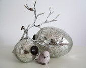 V I N T A G E  Glass Decoration Eggs In Silver - Set Of Two