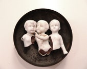 RESERVED A N T I Q U E Bisque Porcelain Doll Parts Germany 1860 - Set Of 3