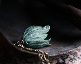 Verdigris Patina Tulip Necklace